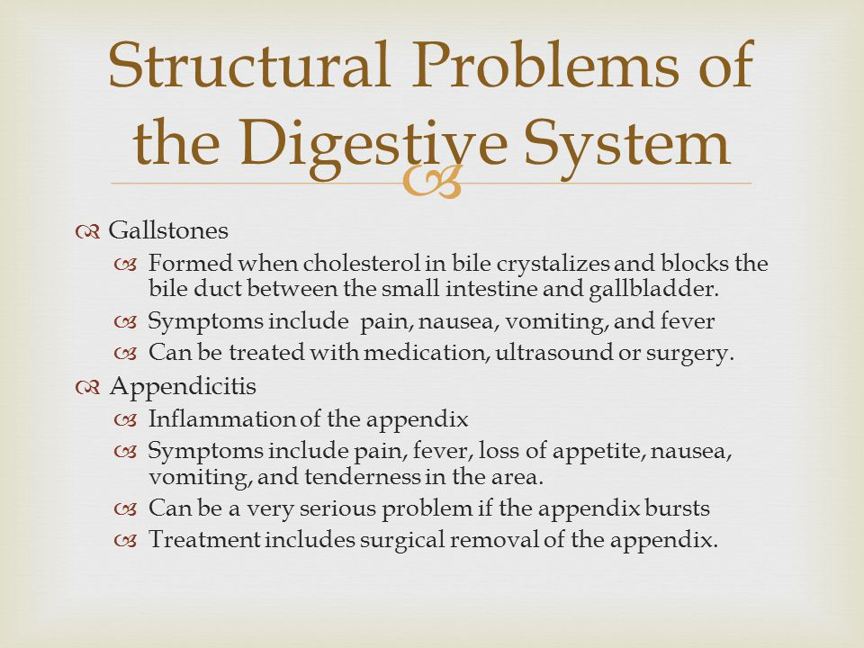 Structural Problems of the Digestive System