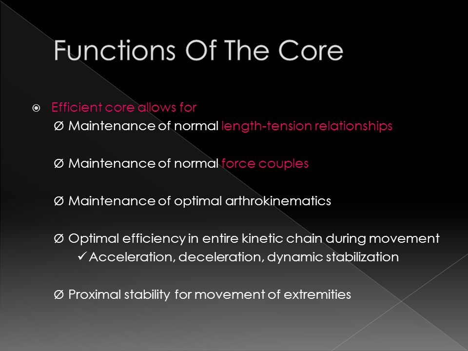 Functions Of The Core Efficient core allows for