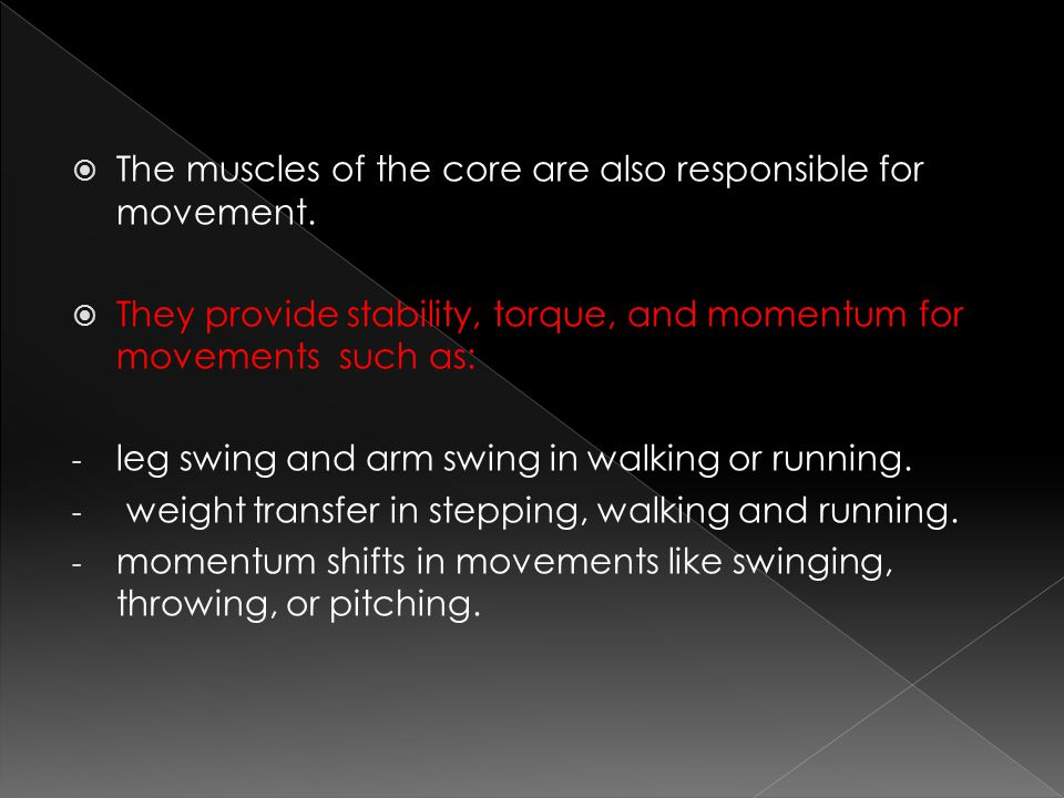 The muscles of the core are also responsible for movement.