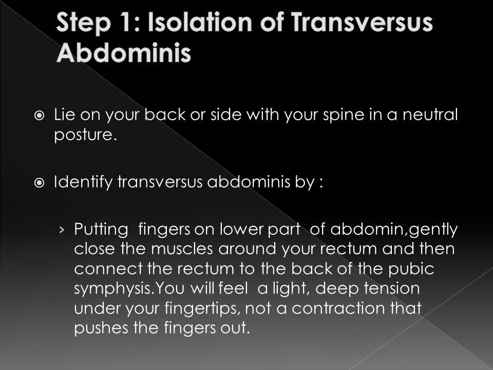Step 1: Isolation of Transversus Abdominis