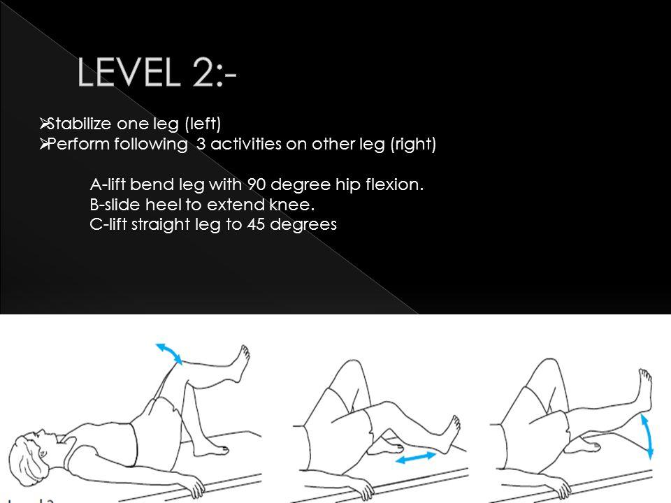 LEVEL 2:- Stabilize one leg (left)