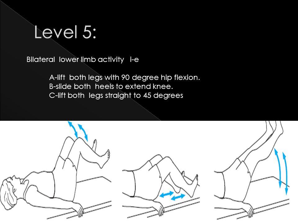Level 5: Bilateral lower limb activity i-e
