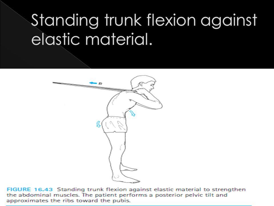Standing trunk flexion against elastic material.