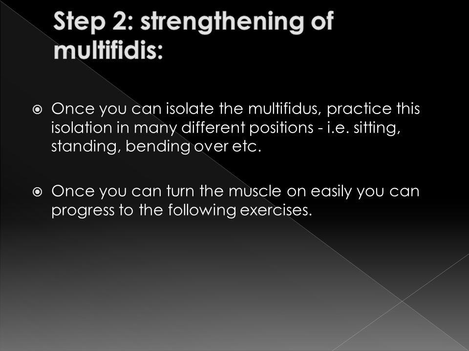Step 2: strengthening of multifidis: