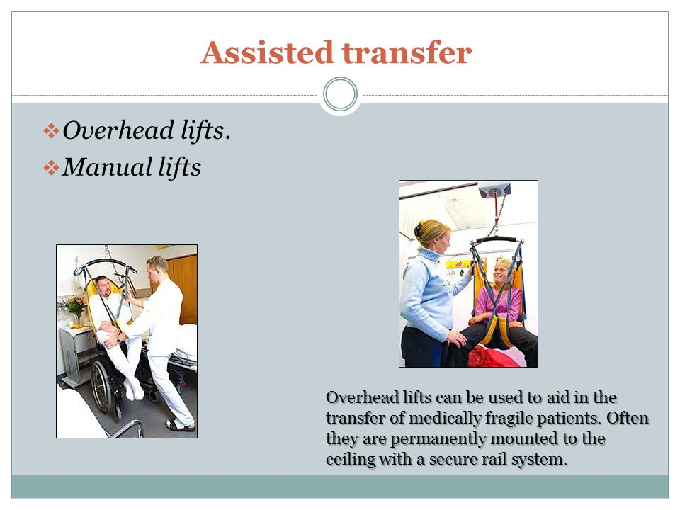 Assisted transfer Overhead lifts. Manual lifts