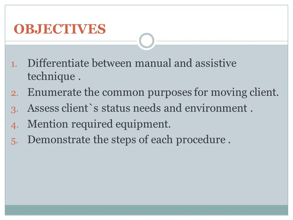 OBJECTIVES Differentiate between manual and assistive technique .