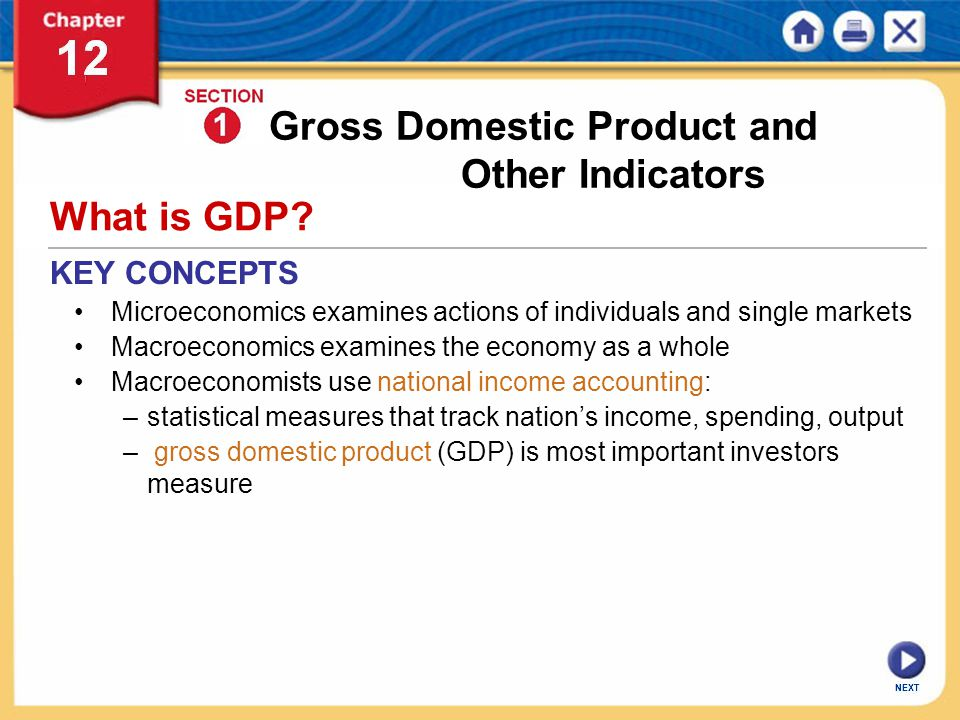 Gross Domestic Product and Other Indicators