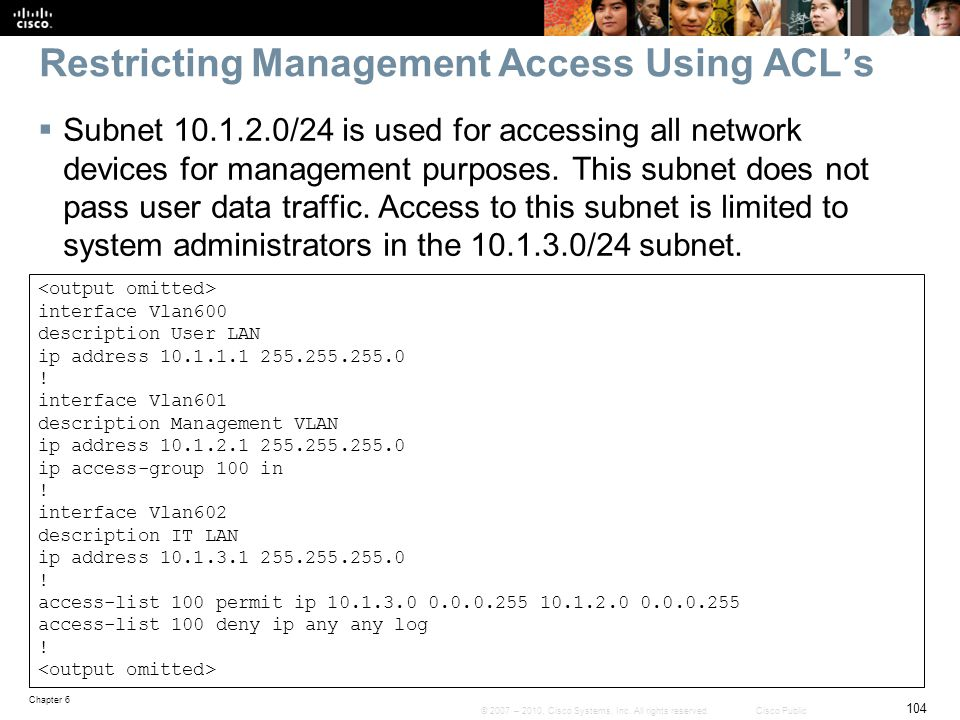 Restricting Management Access Using ACL's