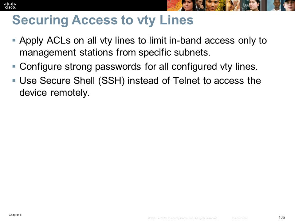 Securing Access to vty Lines