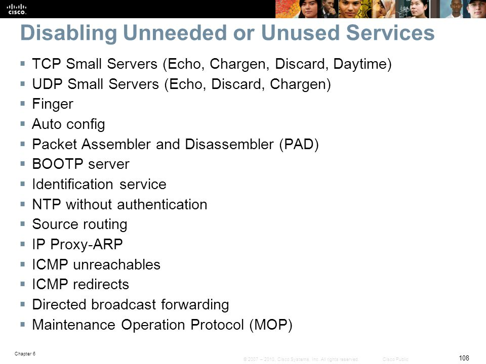 Disabling Unneeded or Unused Services