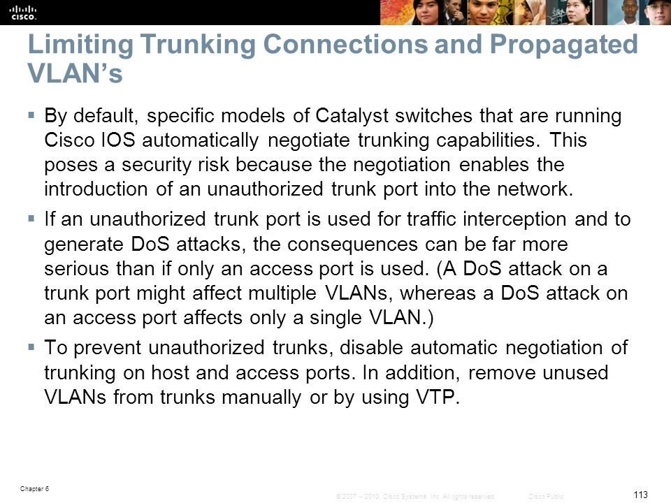 Limiting Trunking Connections and Propagated VLAN's
