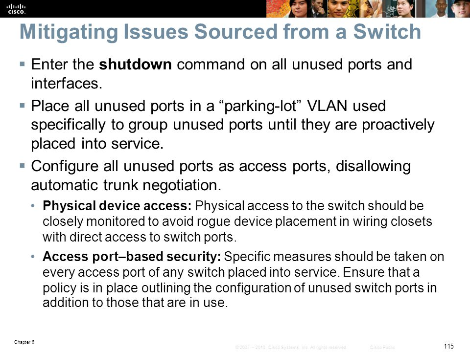 Mitigating Issues Sourced from a Switch