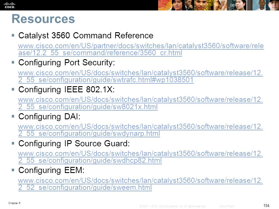 Resources Catalyst 3560 Command Reference Configuring Port Security: