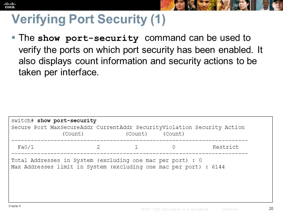 Verifying Port Security (1)