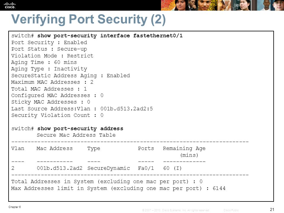 Verifying Port Security (2)