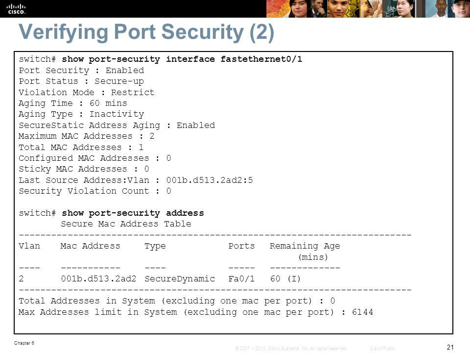 Verifying Port Security (2)