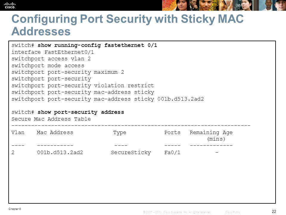 Configuring Port Security with Sticky MAC Addresses
