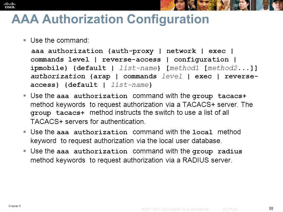 AAA Authorization Configuration