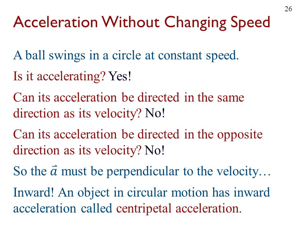 Acceleration Without Changing Speed