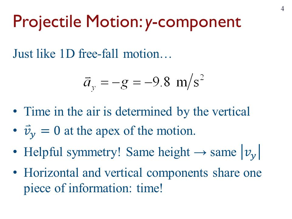 Projectile Motion: y-component