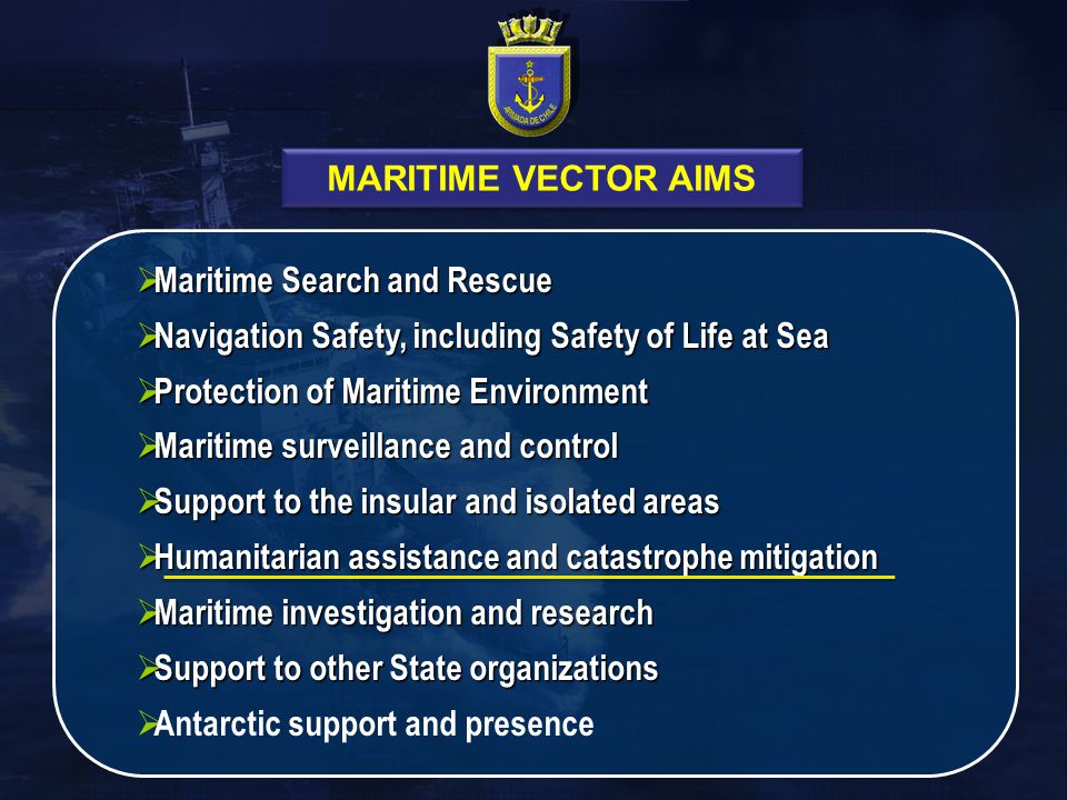 MARITIME VECTOR AIMS Maritime Search and Rescue. Navigation Safety, including Safety of Life at Sea.
