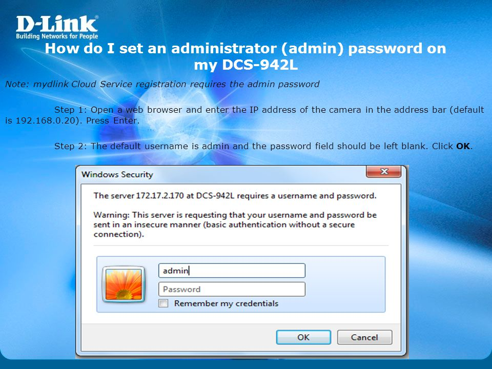 How do I set an administrator (admin) password on my DCS-942L
