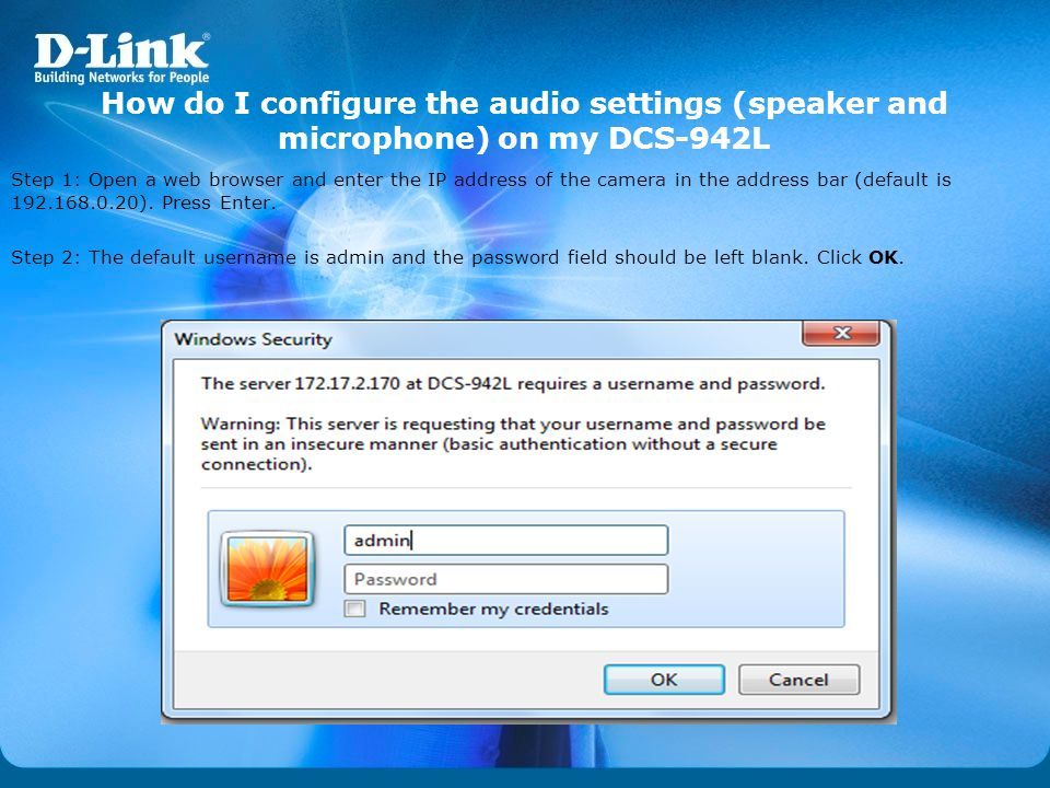 How do I configure the audio settings (speaker and microphone) on my DCS-942L