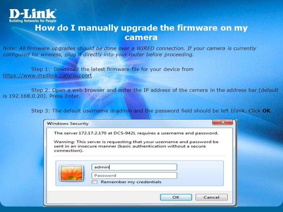 How do I manually upgrade the firmware on my camera