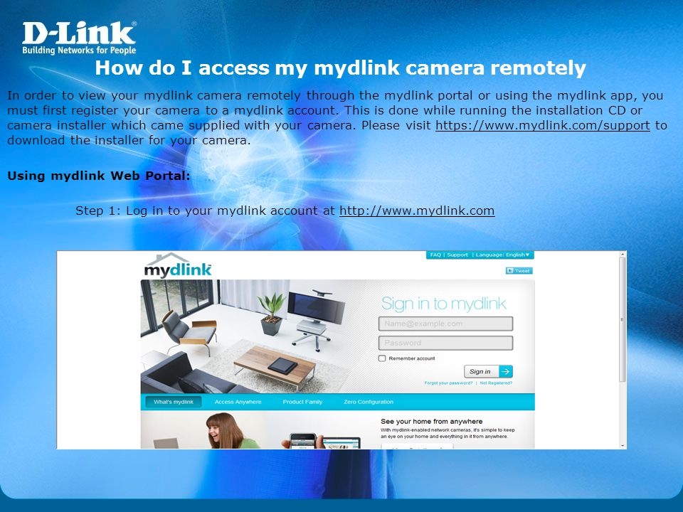 How do I access my mydlink camera remotely