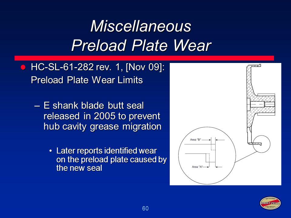 Miscellaneous Preload Plate Wear