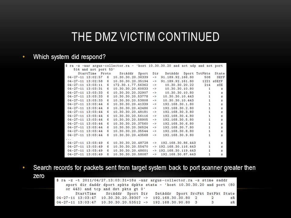 The dmz victim continued