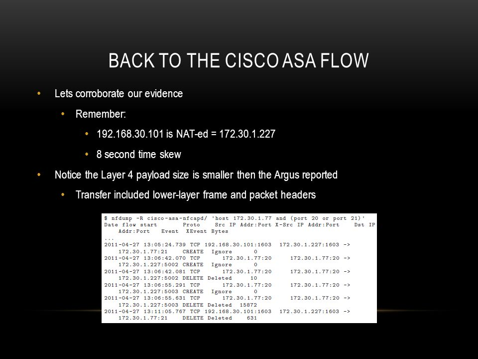 Back to the Cisco ASA flow
