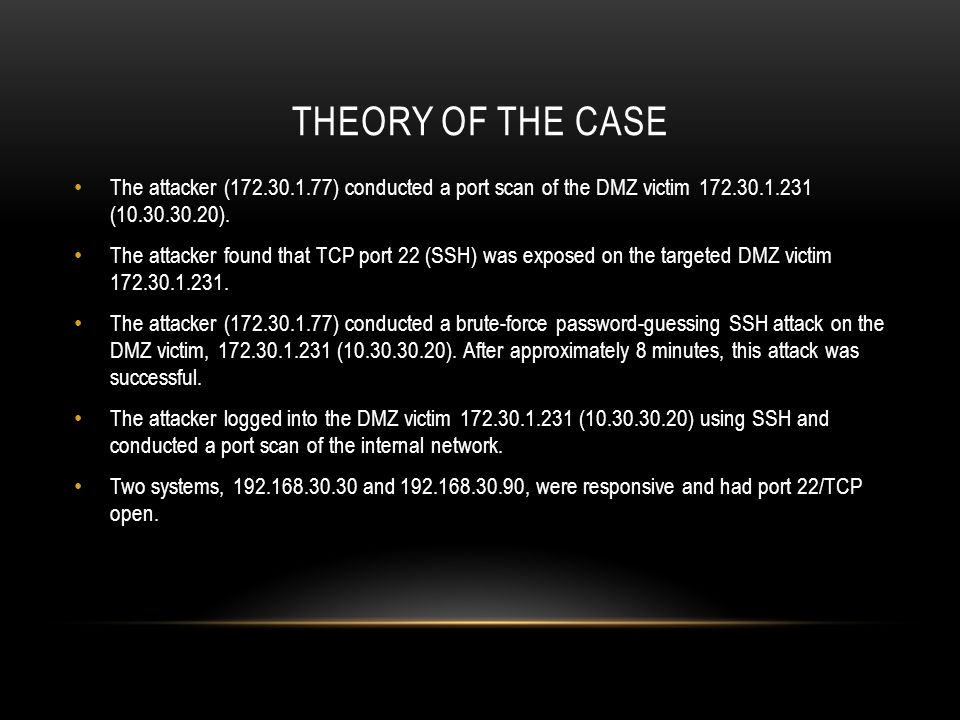 Theory of the case The attacker (172.30.1.77) conducted a port scan of the DMZ victim 172.30.1.231 (10.30.30.20).