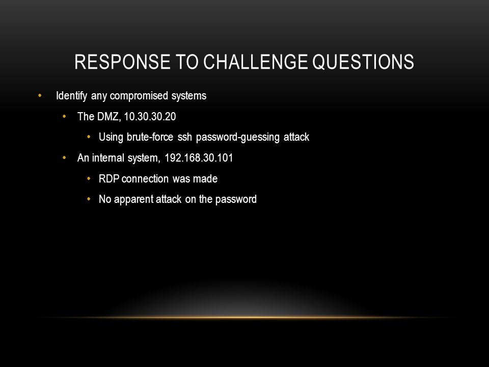 Response to challenge questions