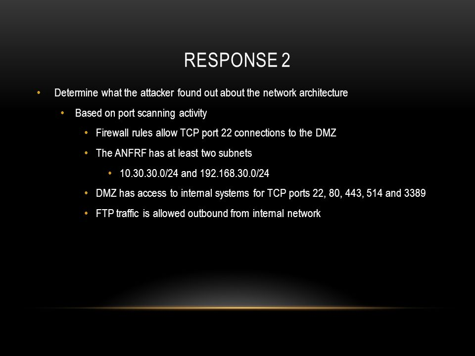 Response 2 Determine what the attacker found out about the network architecture. Based on port scanning activity.
