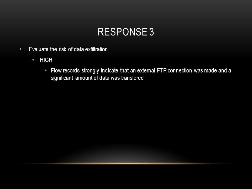 Response 3 Evaluate the risk of data exfiltration HIGH