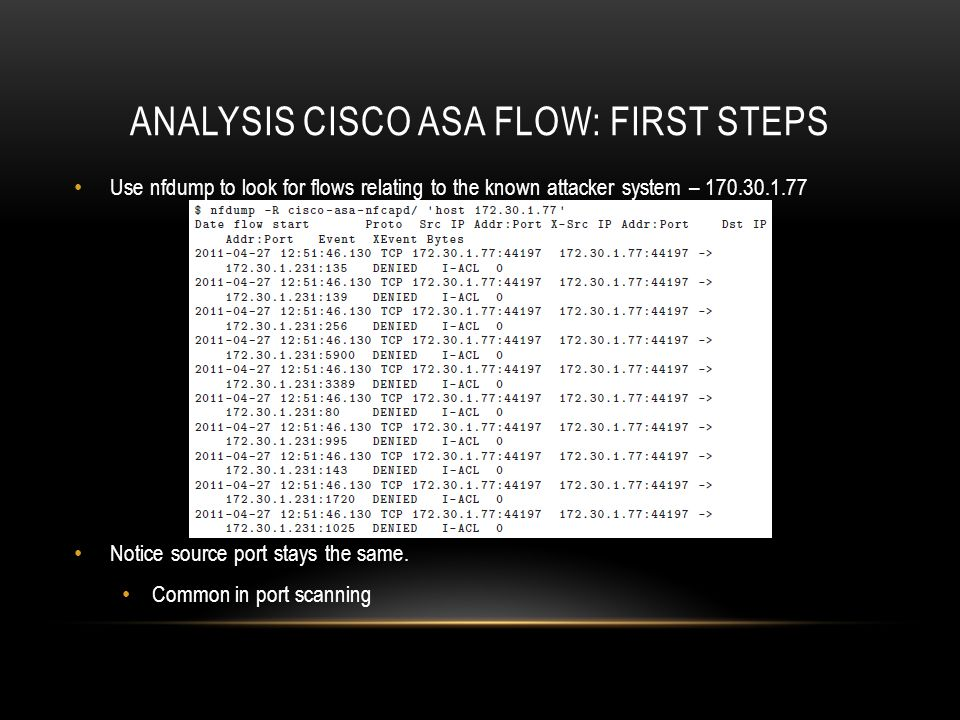 Analysis Cisco ASA flow: first steps