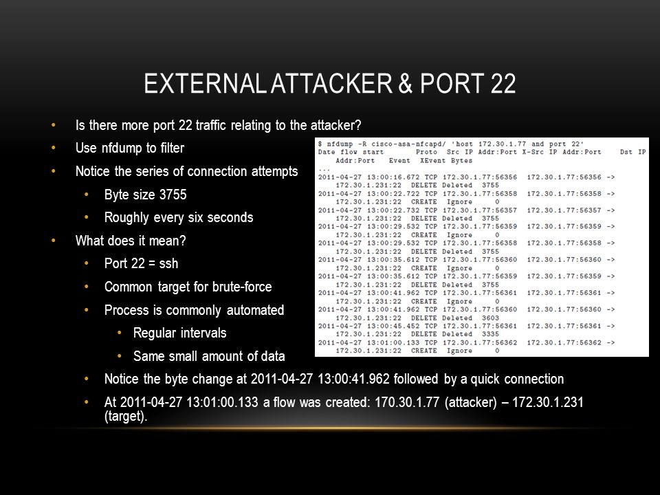 External Attacker & port 22