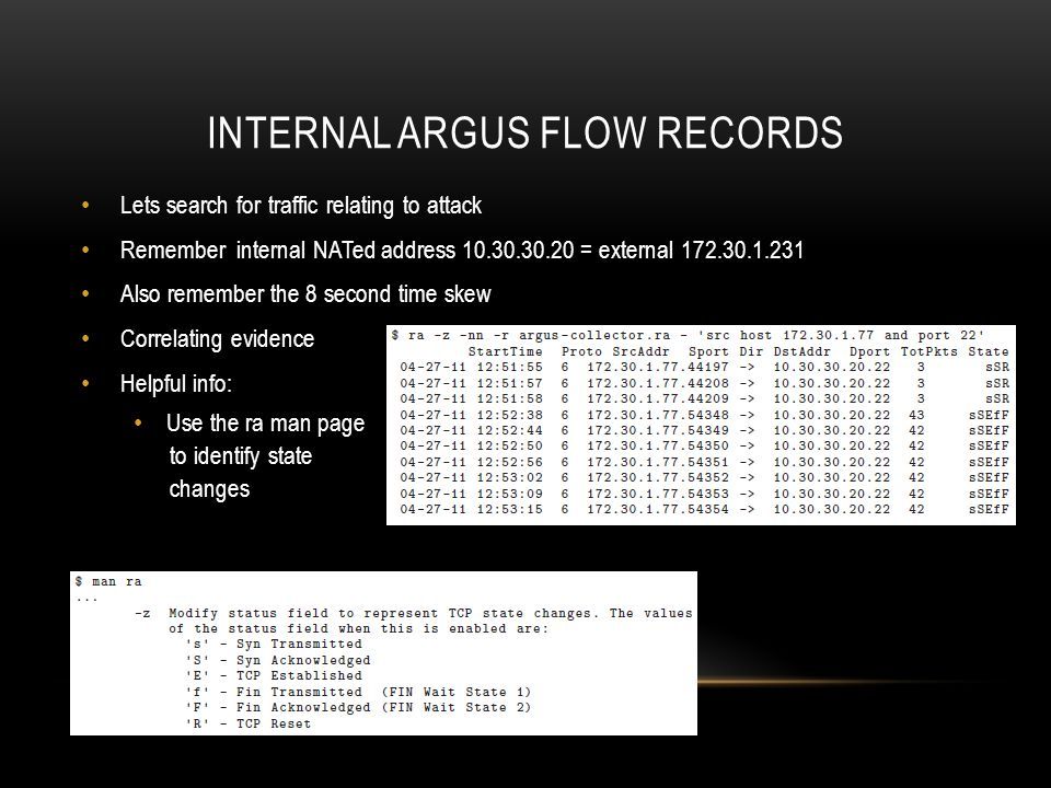 Internal argus flow records