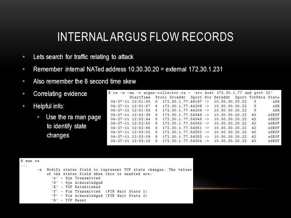 Internal argus flow records