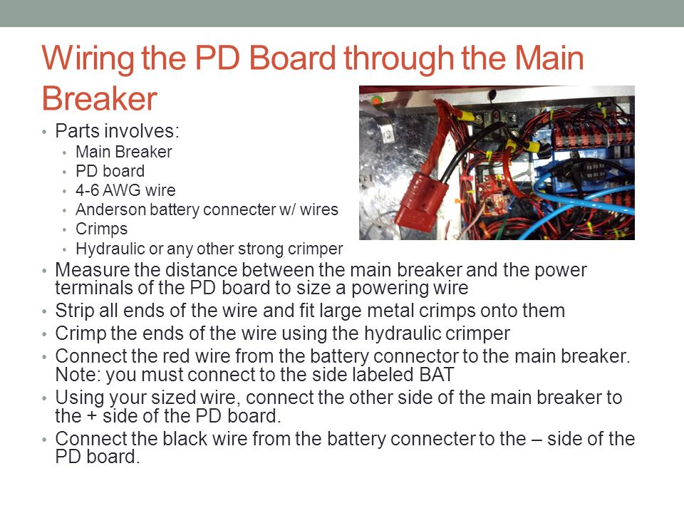 Wiring the PD Board through the Main Breaker