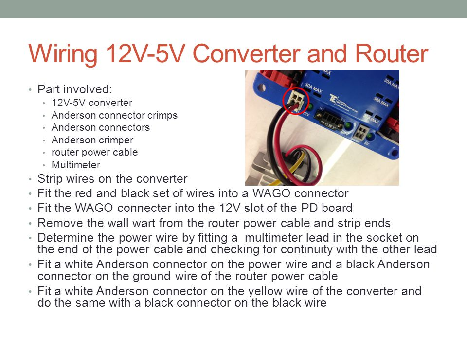 Wiring 12V-5V Converter and Router