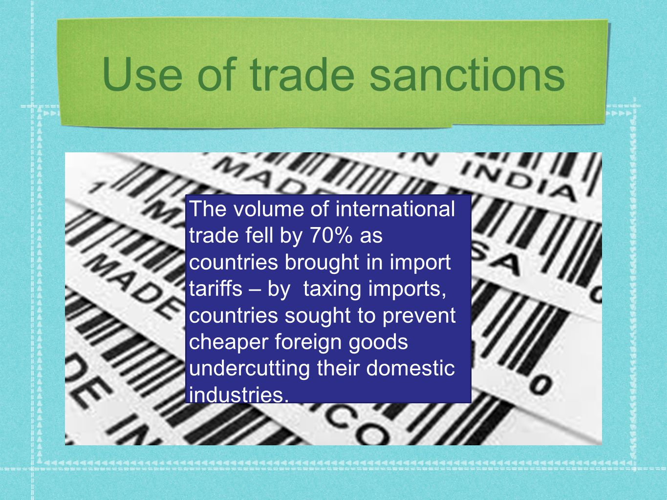 Use of trade sanctions