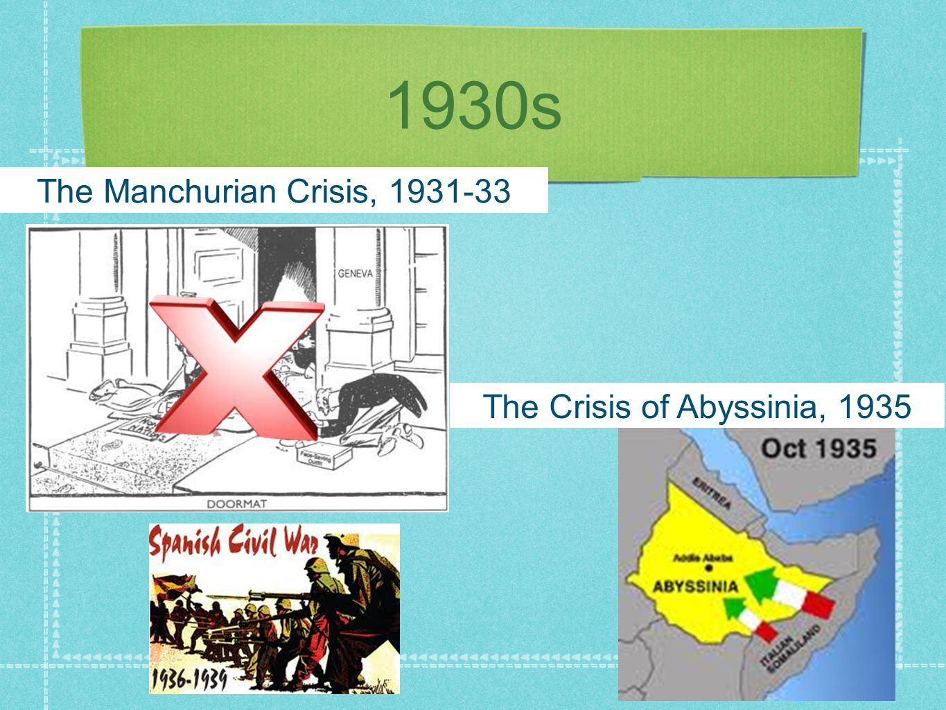 1930s The Manchurian Crisis, 1931-33 The Crisis of Abyssinia, 1935