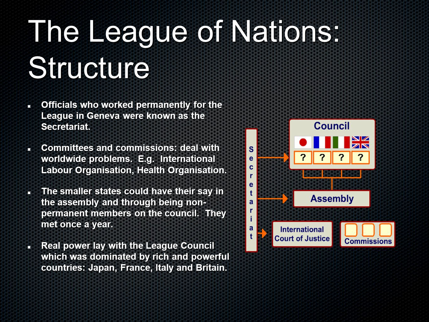 successes of the league of nations The league of nations in this module you will learn: the four aims of the league of nations [side] nine successes of the league in the 1920s.