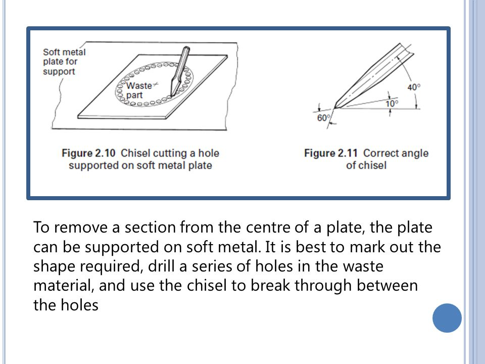 To remove a section from the centre of a plate, the plate can be supported on soft metal.