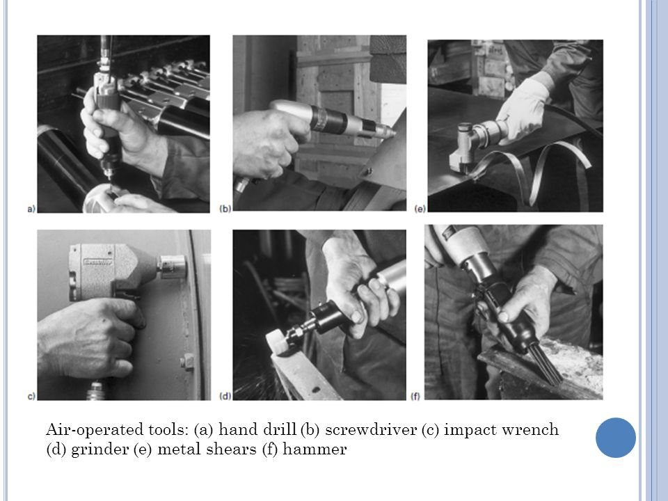 Air-operated tools: (a) hand drill (b) screwdriver (c) impact wrench