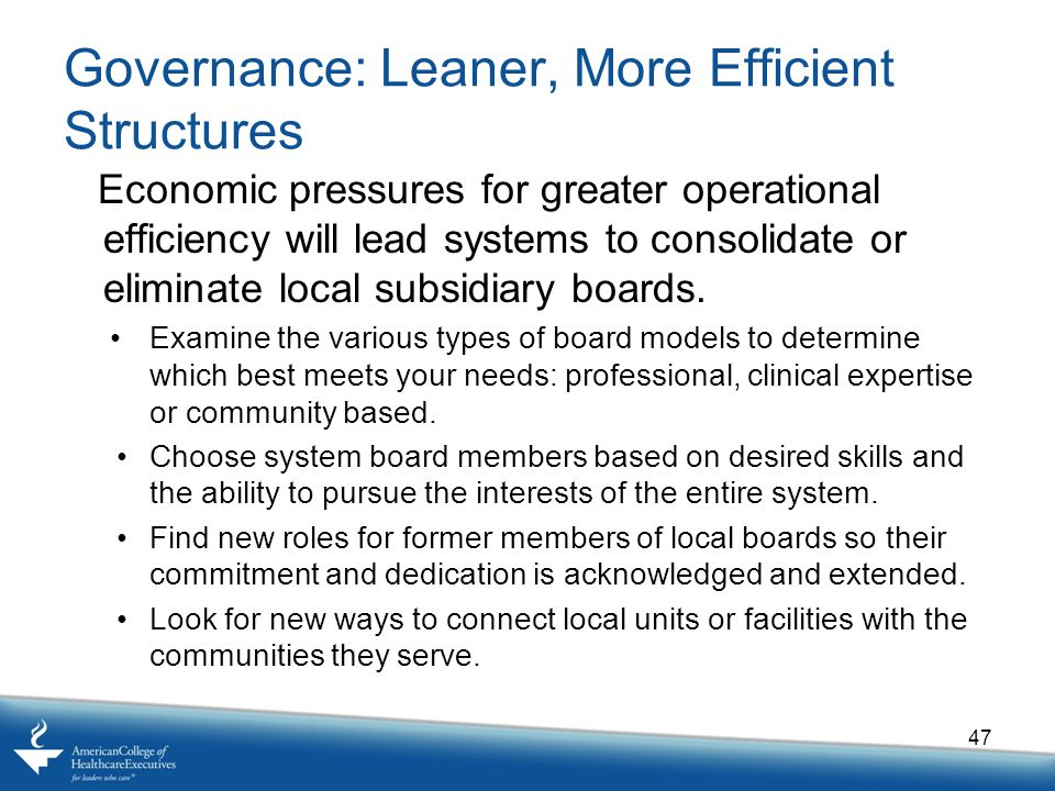 Governance: Leaner, More Efficient Structures