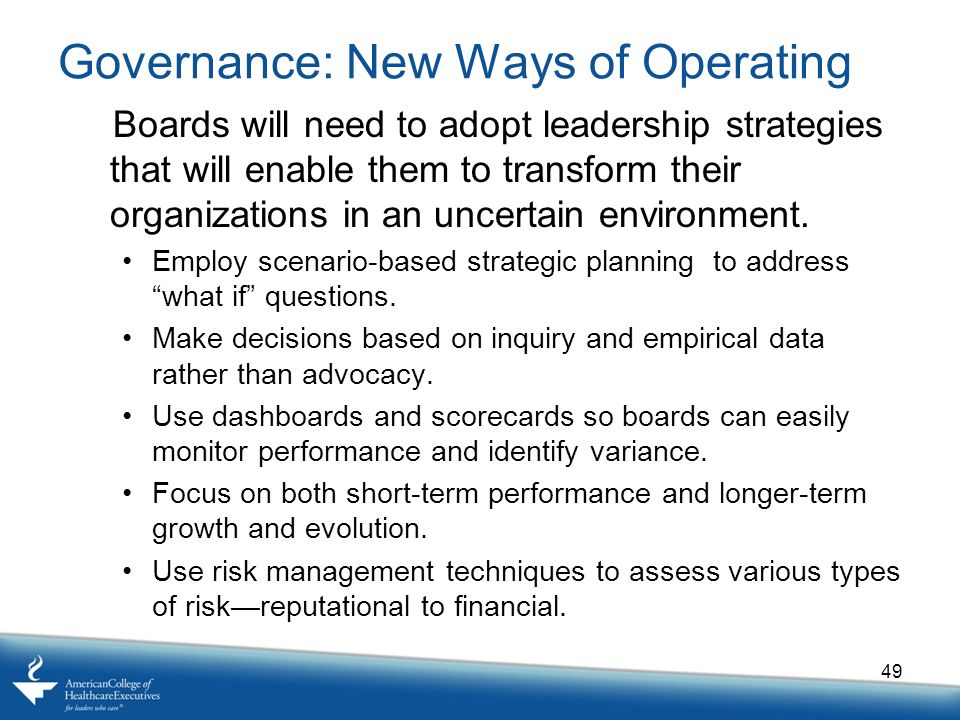 Governance: New Ways of Operating