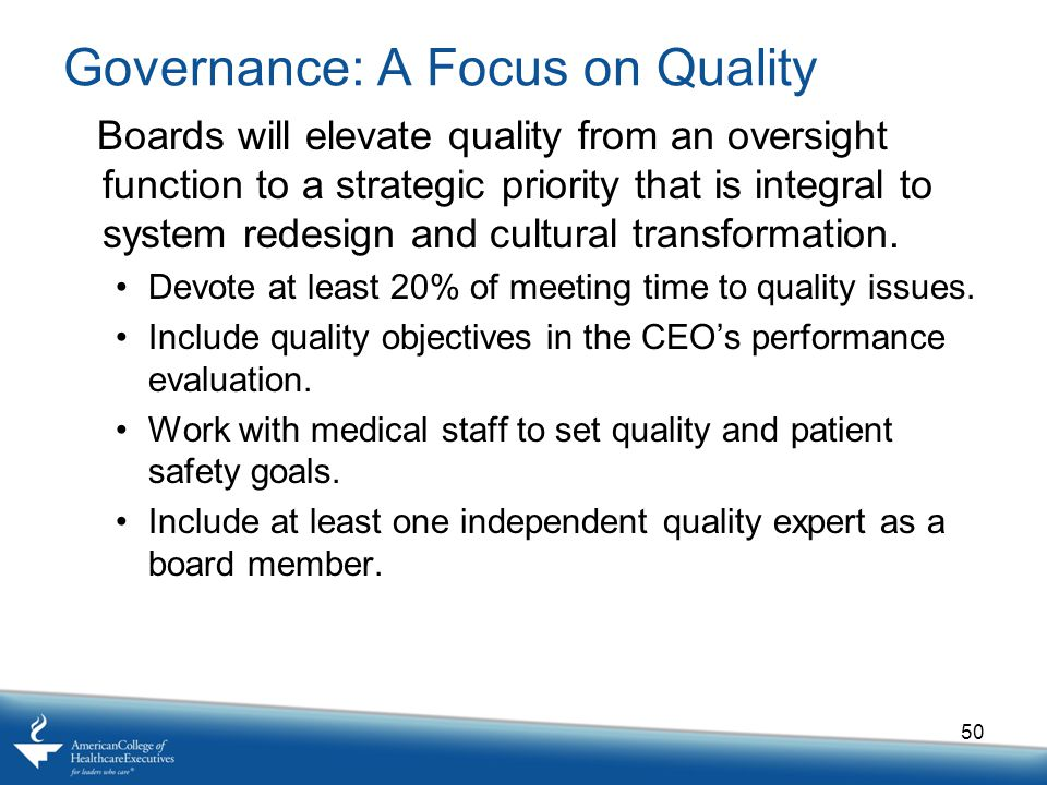 Governance: A Focus on Quality